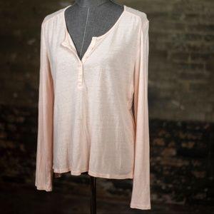 Garnet Hill Pink Soft Cotton Long Sleeve Top